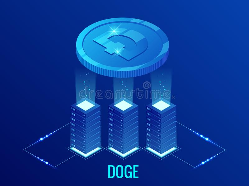 Isometric Dogecoin DOGE Cryptocurrency mining farm. Blockchain technology, cryptocurrency and a digital payment network vector illustration
