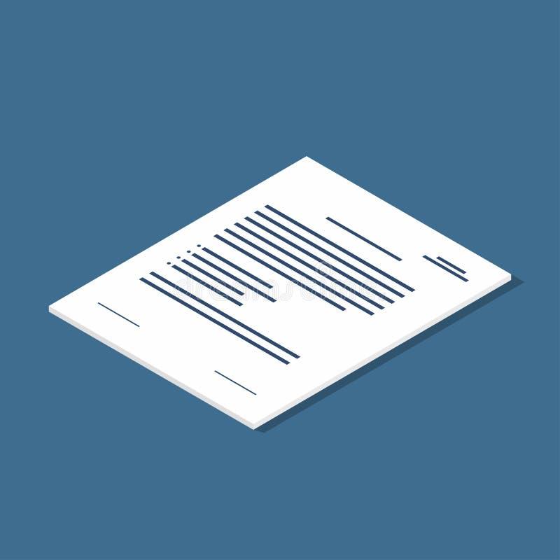 Isometric dokument ikona Zgoda, kontraktacyjny symbol ilustracji