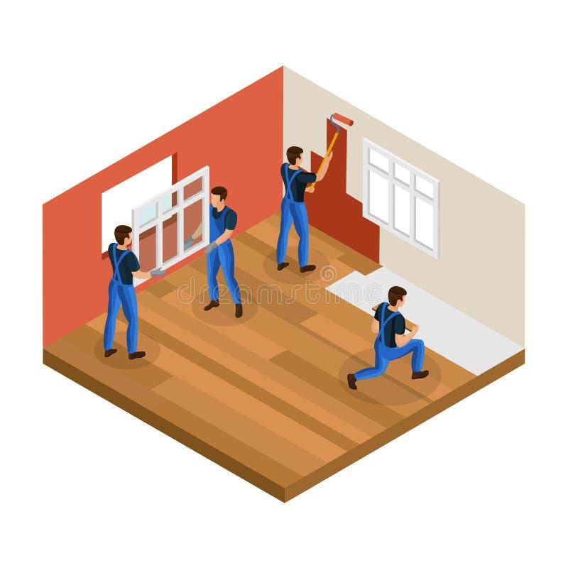 Isometric Domowy odświeżania pojęcie ilustracja wektor