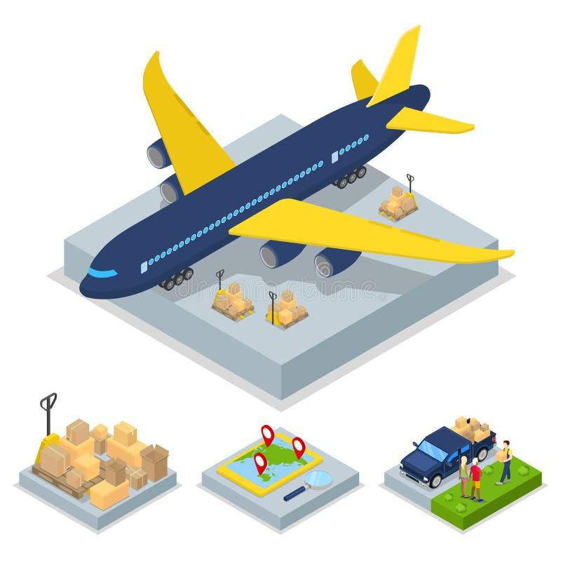 Isometric doręczeniowy pojęcie Lotniczego ładunku samolotu zafrachtowań transport royalty ilustracja