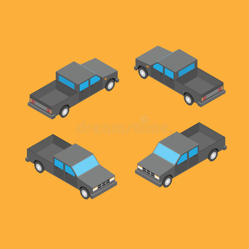 Isometric double cab pickup truck. On the yellow background stock illustration