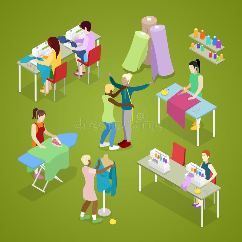 Isometric Dressmaker Salon Atelier with Tailor. Sewing and Knitting. Woman Making Clothes vector illustration