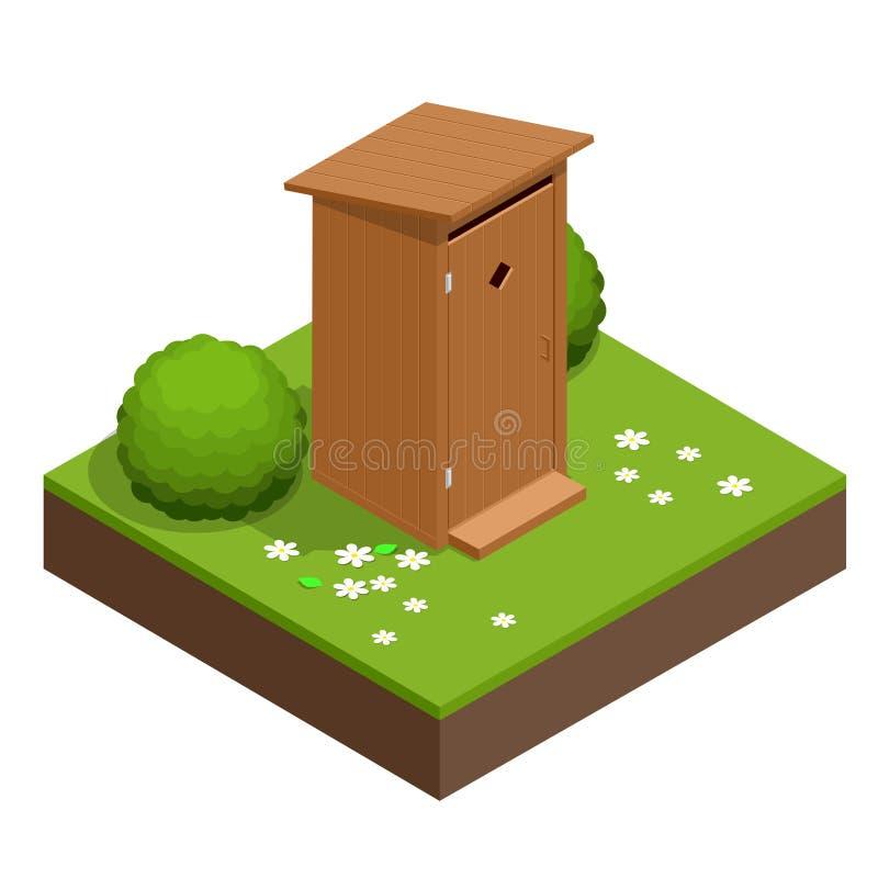 Isometric drewniana życiorys toaletowa kabina Wycieczkować usługa Płaska koloru stylu wektoru ikona ilustracja wektor