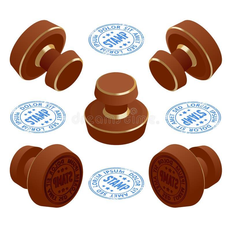 Isometric Drewnianego round gumowe stempl?wki i znaczki z tekstem Set znaczki odizolowywaj?cy na bia?ym tle ilustracji
