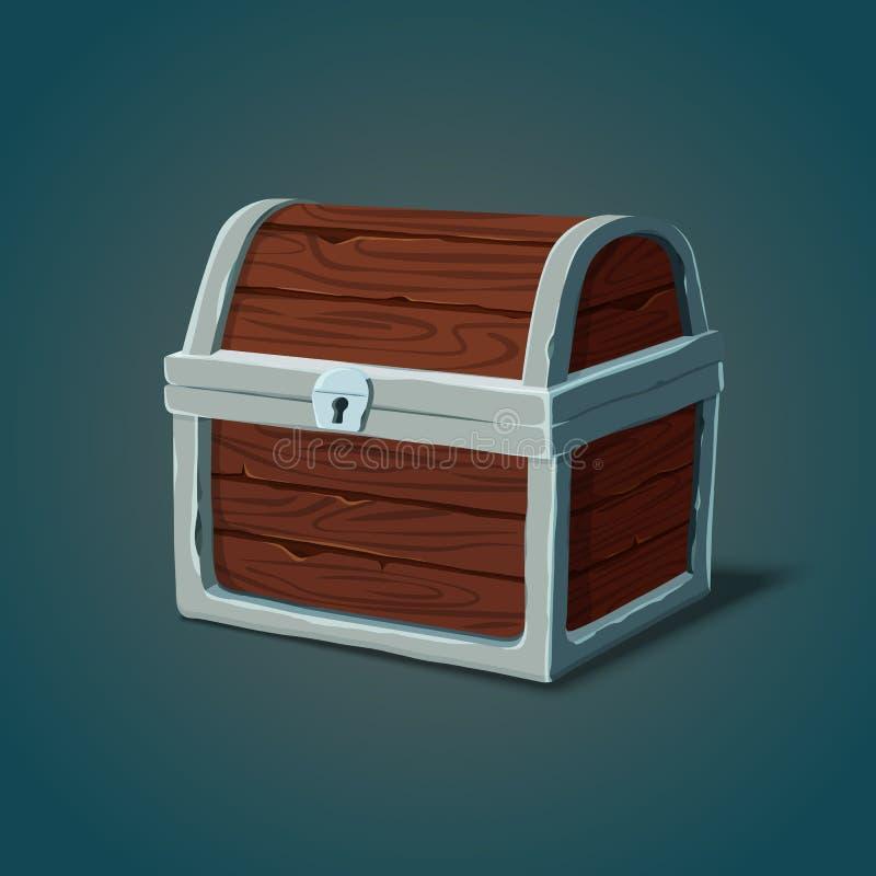 Isometric drewniany wyposaża klatki piersiowej lub pirata skrzynkę ilustracja wektor