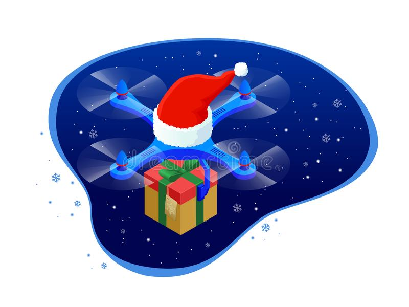 Isometric dron Santa`s hat delivering Christmas gifts and presents. Vector illustration.  vector illustration