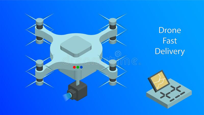 Isometric Drone Fast Delivery. Dron flying with action video camera and remote vector illustration