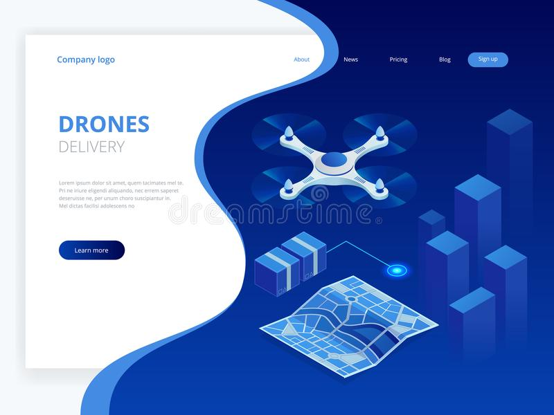 Isometric Drone Fast Delivery of goods in the city. Technological shipment innovation concept. Autonomous logistics royalty free illustration