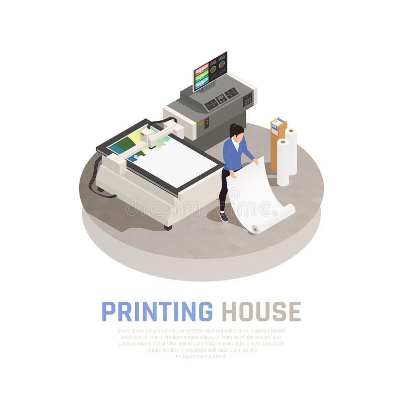 Isometric Drukowego domu Polygraphy skład ilustracji