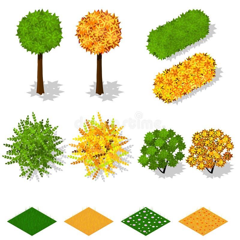 Isometric drzewa, krzaki, trawa, kwitną ilustracja wektor