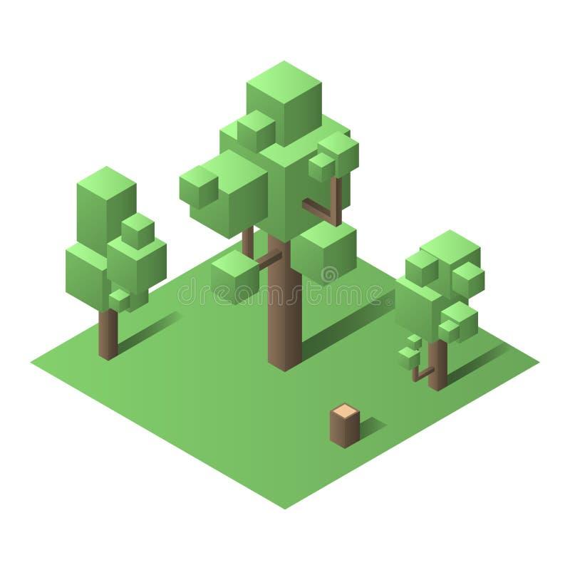 Isometric drzewo, Isomatric wektoru set royalty ilustracja