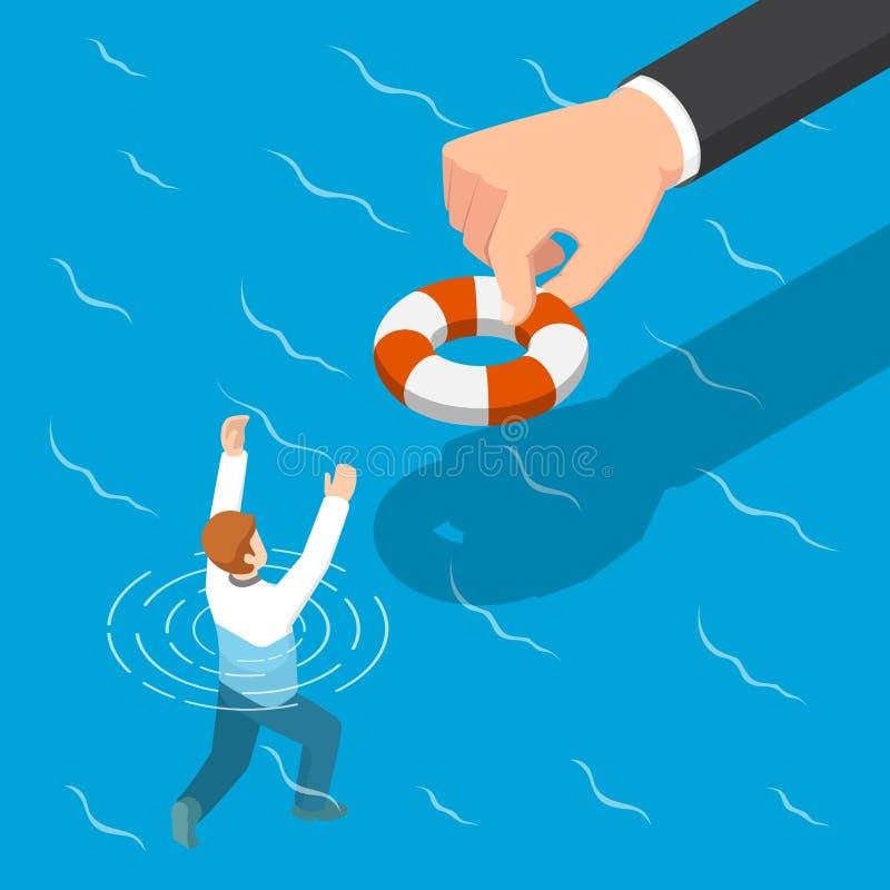 Isometric duża ręka daje lifebuoy pomagać biznesmena ilustracja wektor