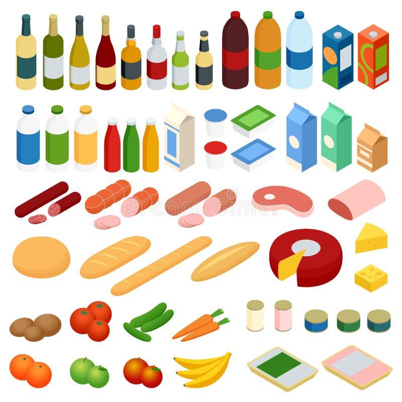 Isometric duży set żywność Wektorowe karmowe ikony ustawiać ilustracji