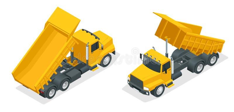 Isometric dumper truck, excavator, dump truck isolated. royalty free illustration