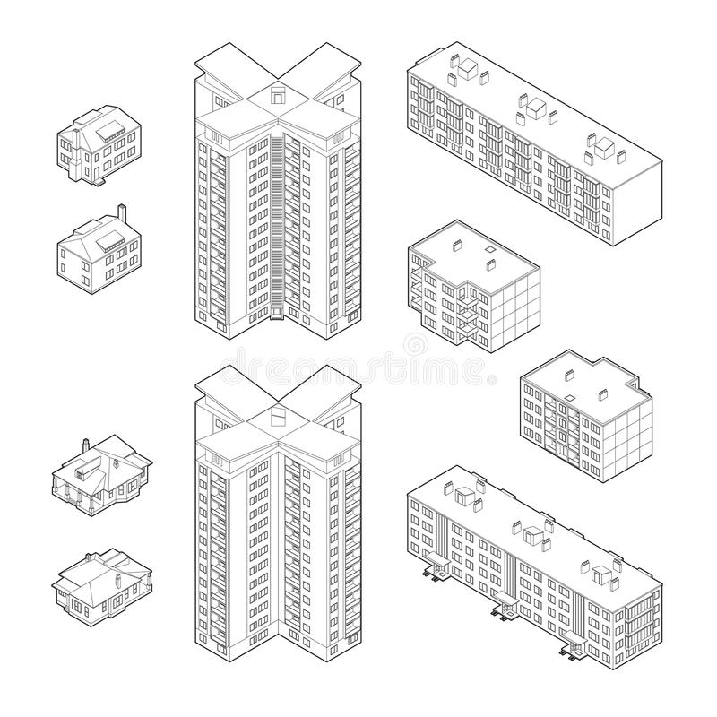 Isometric Dwelling Buildings. Black and White Isometric Dwelling Buildings royalty free illustration