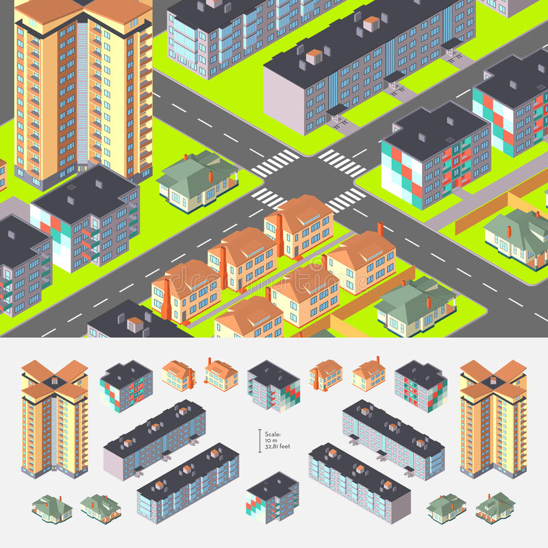 Isometric Dwelling Buildings. Isometric Vector Dwelling Buildings. Editable with elements logically layered vector illustration