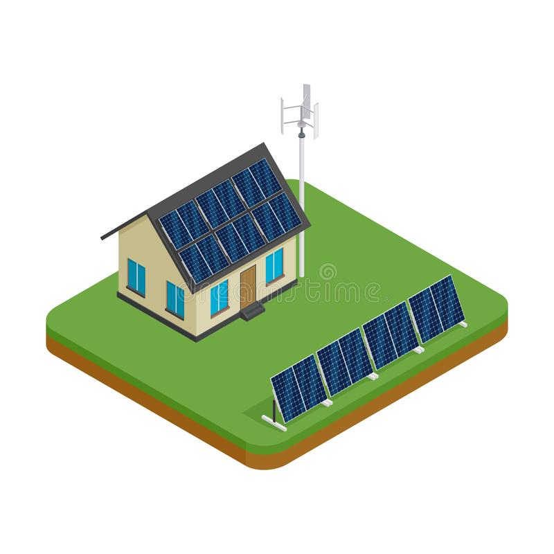 Isometric eco friendly house with wind turbine and solar panels. Green energy concept. vector illustration