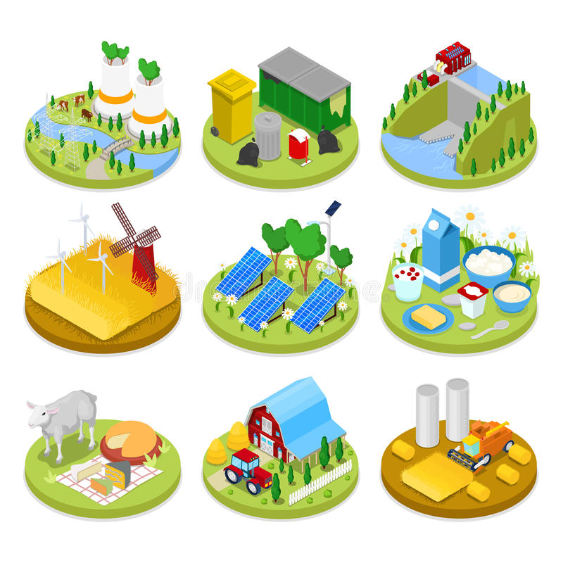 Isometric Ecology Concept. Renewable Energy. Agriculture Industry. Healthy Natural Food royalty free illustration
