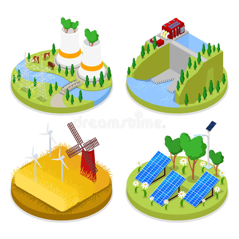 Isometric Ecology Concept. Renewable Energy. Agriculture Industry. Healthy Natural Food vector illustration