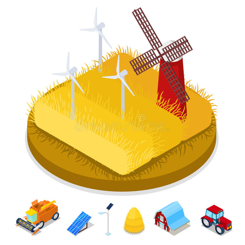 Isometric Ecology Concept. Renewable Energy Wind Mill. Agriculture Industry stock illustration
