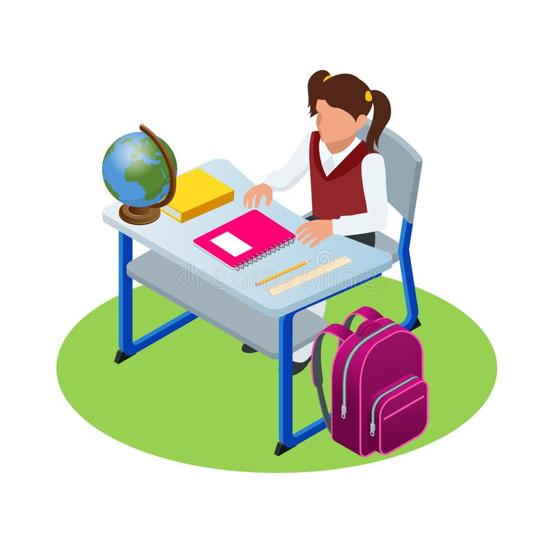 Isometric education concept. Girl makes a homework, sitting and writting. Schoolgirl is learning the lessons. Vector. Illustration royalty free illustration