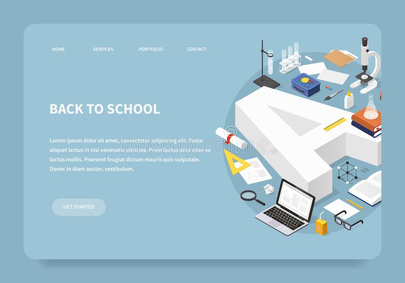 Isometric Education Landing Page Concept vector illustration