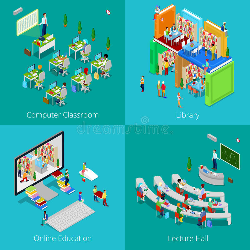 Isometric Educational Concept. University Computer Classroom, Online Education, Library, College Lecture Hall. Isometric Educational Concept. University Computer stock illustration