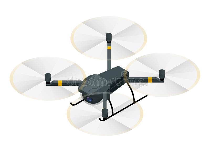 Isometric Electric wireless RC quadcopter drone with video and photo camera for aerial photography isolated on white stock illustration