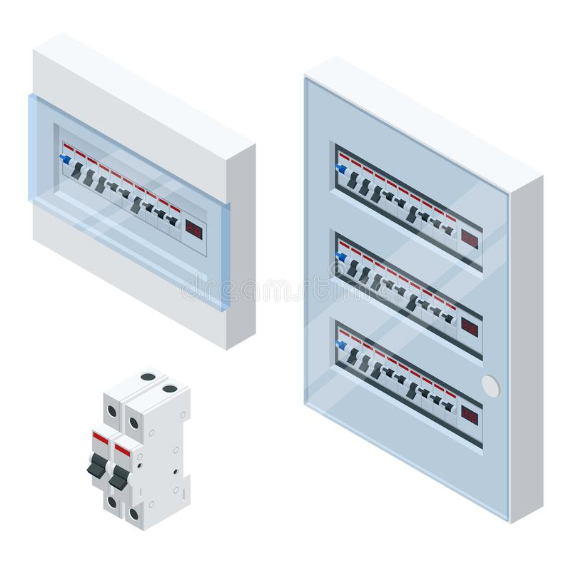 Isometric Electrical panel with fuses and contactors. Automatic circuit breakers, isolated on white background. Electric. Fuse royalty free illustration