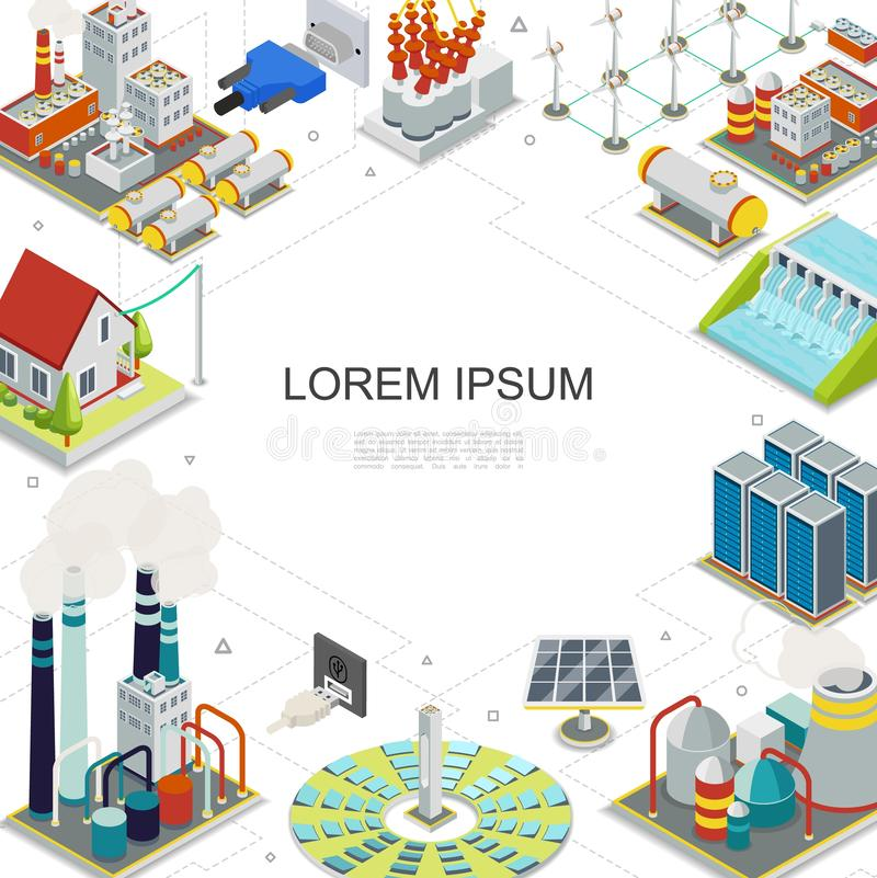 Isometric Electricity And Energy Template stock illustration