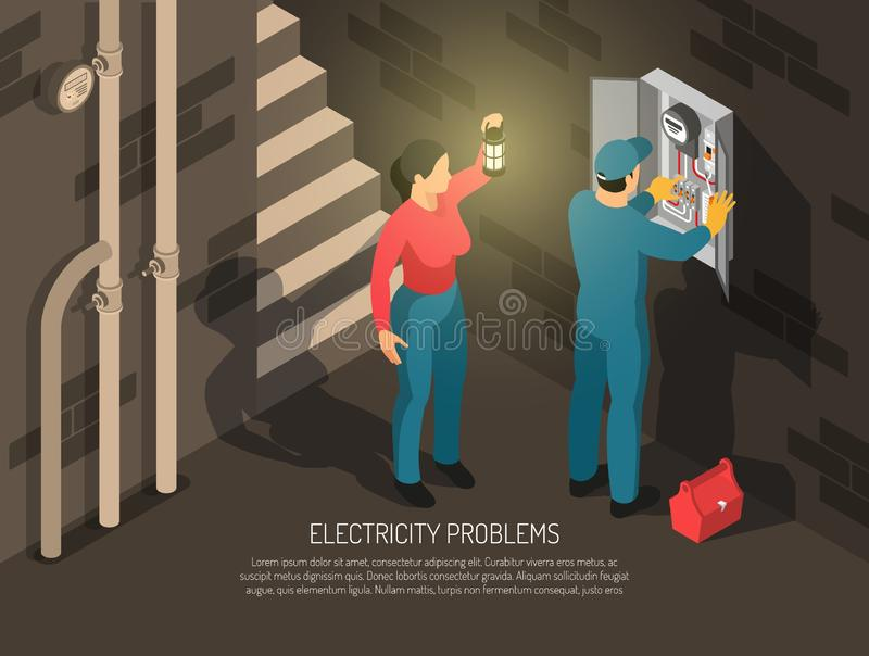 Isometric Electricity Problems Background royalty free illustration