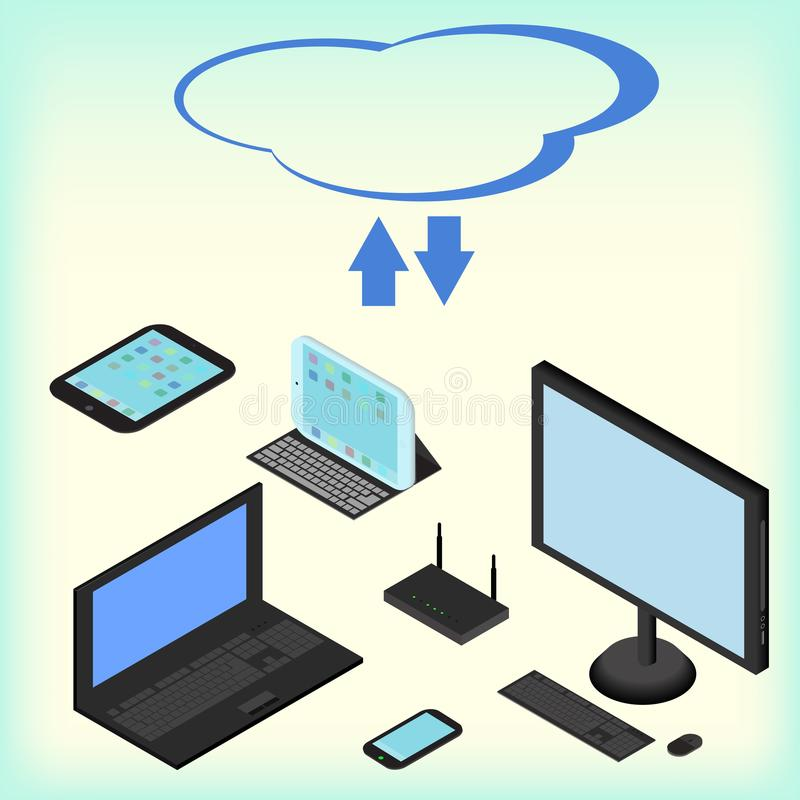 Isometric electronic devices, cloud network services, concept, laptop, smartphone, computer, royalty free illustration