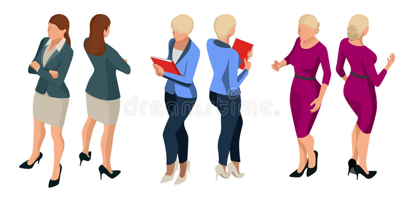 Isometric eleganckie biznesowe kobiety w formalnych ubraniach Opierają się garderobę, kobiecego korporacyjnego kodu ubioru Wektor ilustracja wektor