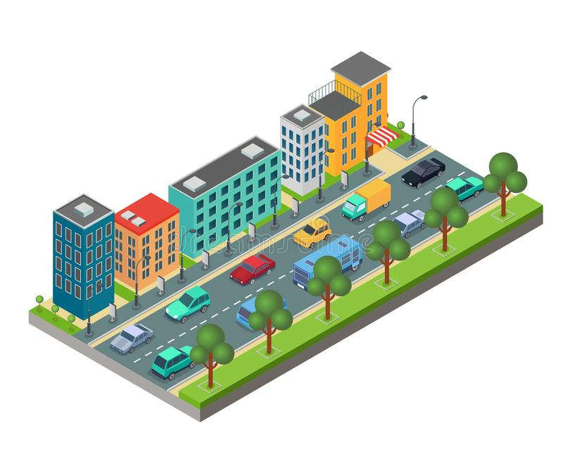 Isometric element of city road with buildings and cars in traffic jam isolated on white background. vector illustration