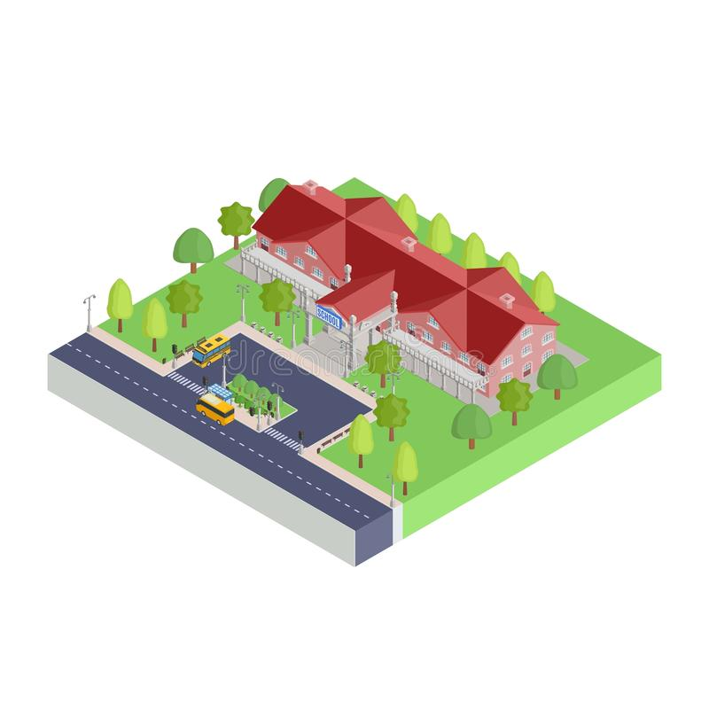 Isometric elementary school part of the city vector illustration
