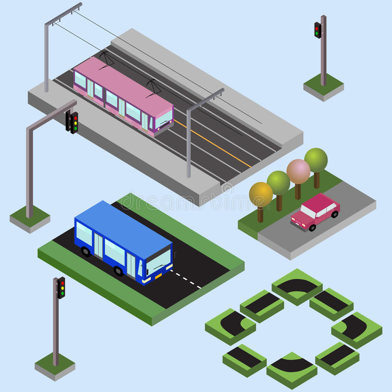 Isometric elements of city, bus, car, tram, streets, traffic lights, nature, ,. Isometric elements of city, bus, car, tram, streets, traffic lights and nature vector illustration