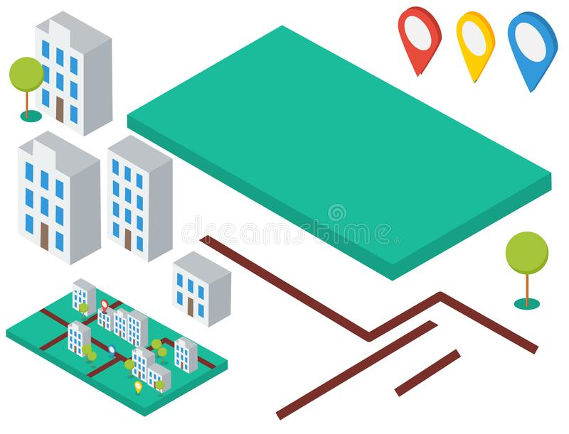 Isometric elements for map. Buildings, trees, gps icons royalty free illustration