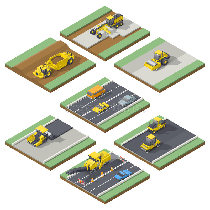 Isometric elements infographic showing the stages of construction or maintenance road with the appropriate using the technique. Vector grpahic illustration vector illustration