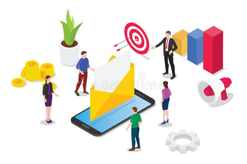 Isometric email service or services concept with team people working together on the marketing side based on data - vector stock illustration