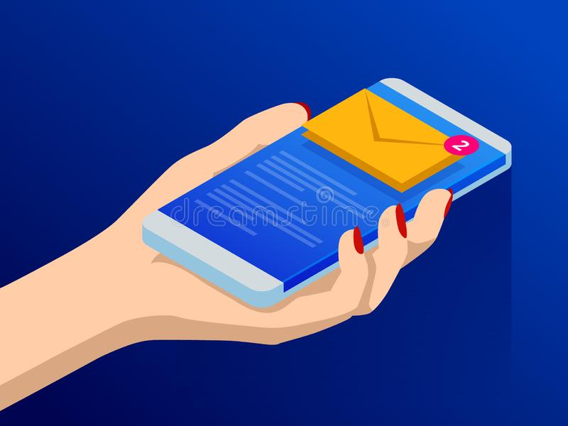 Isometric email or sms app on a smartphone screen. New message is received. Female fingers touching smartphone with mail. Icon on it. Vector illustration stock illustration