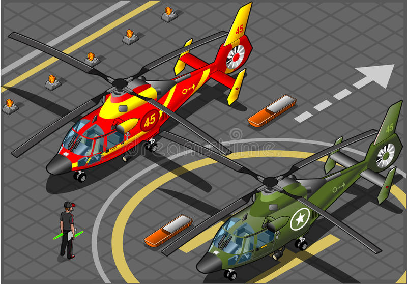 Isometric Emergency and Military Helicopters in Front View vector illustration