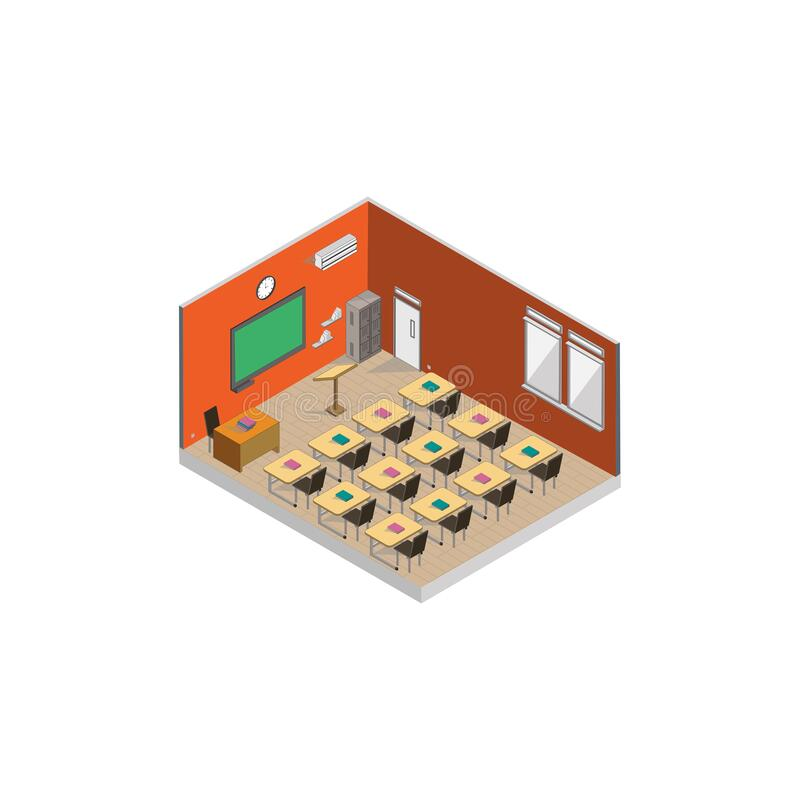 Isometric Empty Classroom at school stock photos