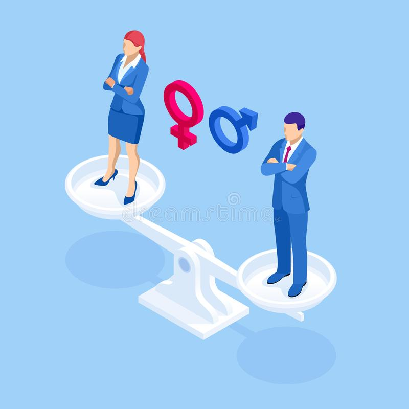 Isometric equality for genders a man and woman on scales concept. Equality between man and woman. vector illustration