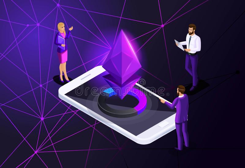Isometric Ethereum crisis concept with Ether symbol, crypto currency, new virtual money, business ladies and businessmen investors stock illustration