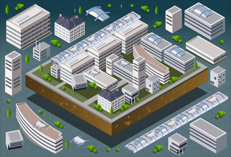 Isometric European Building royalty free illustration