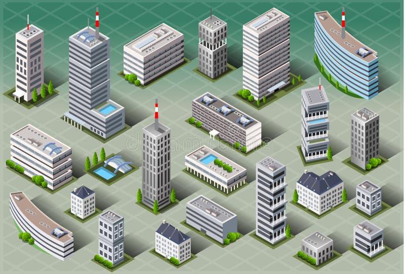 Isometric European Buildings stock illustration