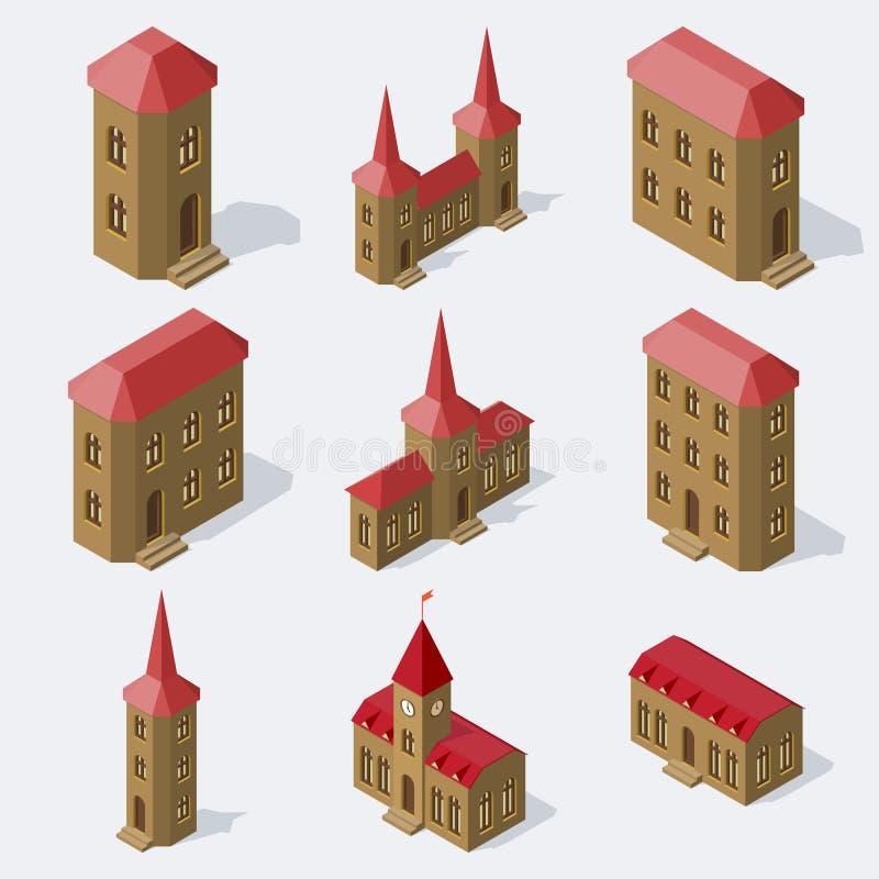Isometric european buildings set. stock illustration