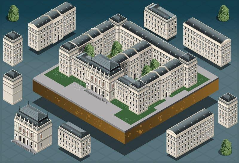 Isometric European historic building stock illustration