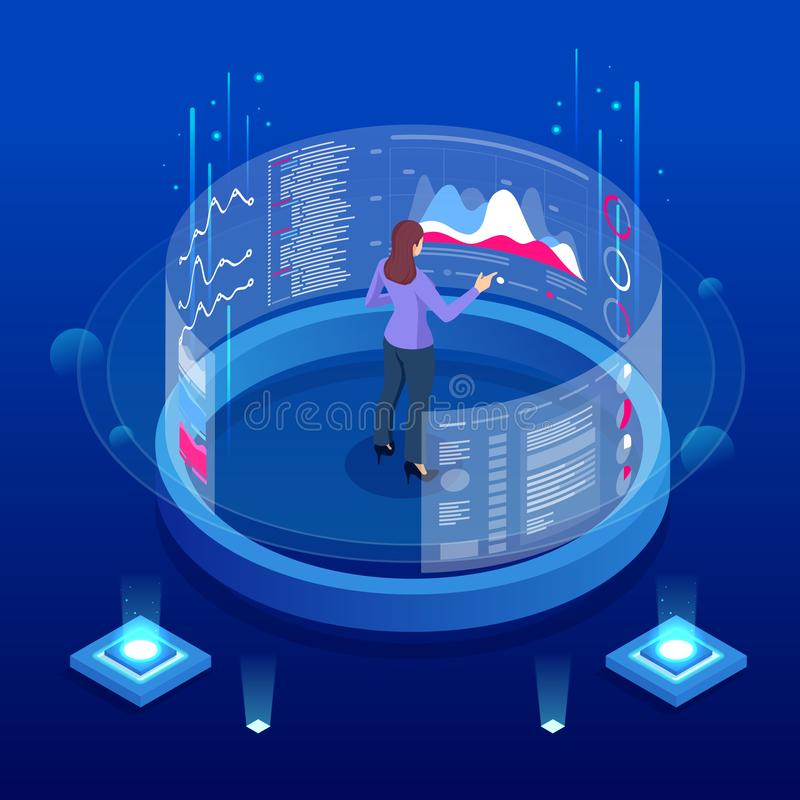Isometric Expert in front of the Big Screen for Data Analysis or Business Statistic. Management, Consulting, and Audit. Isometric Expert in front of the Big stock illustration