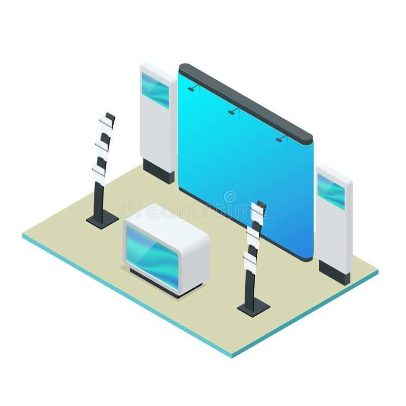 Isometric Expo Stands. Exhibition Demonstration Stand Concept. Exposition booth. Blank mockup. Isometric Expo Stands. Exhibition Demonstration Stand Concept stock illustration